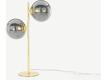 Globe Tischlampe, Messing und Rauchglas