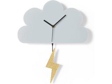 Cloud and Lightning Wanduhr, Acryl in Grau und Gold