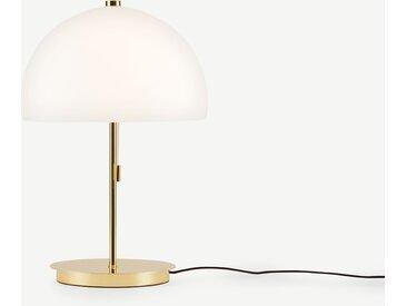 Collet Tischlampe, Messing und Milchglas