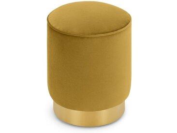 Hetherington kleiner Polsterhocker, Samt in Vintage-Gold