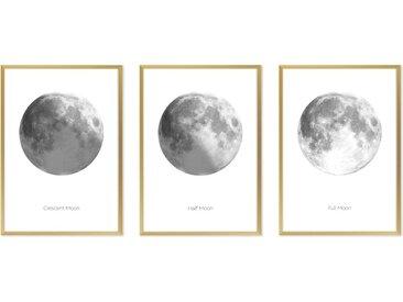 Moon Phase Triptychon 3 x gerahmte Kunstdrucke (A3), Schwarz und Weiss