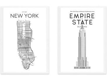 Location & Landmark New York Map A3 Framed Wall Art Print, Black & White