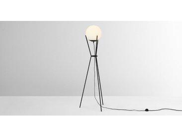 Quinten Tripod-Stehlampe, Schwarz und Milchglas
