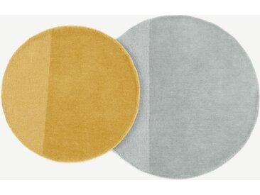 2 x Ronda runde Teppiche, Grau und Senfgelb