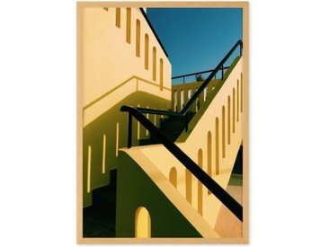 Architecture High Contrast Staircase by Eloise Holmes gerahmter Kunstdruck (A2), Gelb und Blau