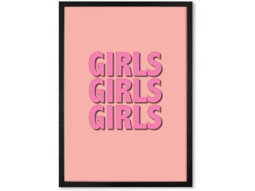 Girls Girls Girls by Colour TV gerahmter Kunstdruck (A2), Rosa