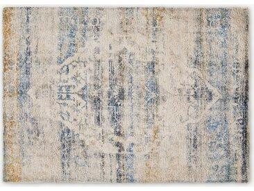 Ilyass Teppich (160 x 230 cm), Marineblau und Antik-Gold