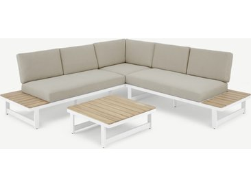Topa modulares Gartenecksofa-Set, Akazie und Weiss