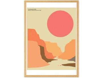 Grand Canyon Landscape Travel Poster, gerahmter Kunstdruck (verschiedene Groessen erhaeltlich), Mehrfarbig
