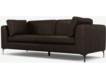 Monterosso 3-Sitzer Sofa, Leder in Dunkelbraun und Schwarz