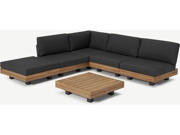 Avarna modulares Gartenecksofa-Set, Akazie und Grau