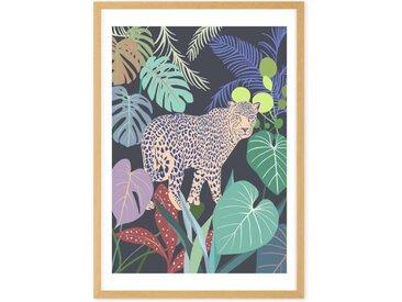 Leopard Jungle, gerahmter Kunstdruck (verschiedene Groessen erhaeltlich), Mehrfarbig