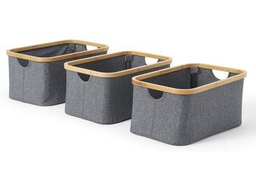 Felicia 3-tlg. Korb-Set, Bambus in Natur und Grau