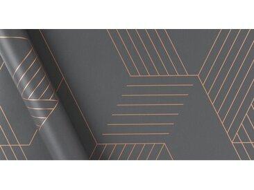 Pascal Geo Tapete, 10 m Rolle, Eisengrau und Kupfer
