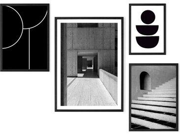 The Muse 4 x gerahmte Kunstdrucke, Schwarz und Weiss