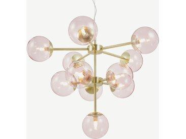 Globe Kronleuchter, Messing und Glas in Zartrosa