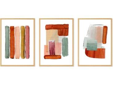 Abstract by Rebecca Hoyes 3 x gerahmte Kunstdrucke (A3) (weitere Groessen erhaeltlich)