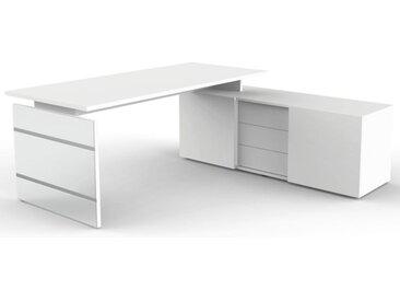 LUGANO Schreibtisch mit Sideboard, 180-210x177x74cm