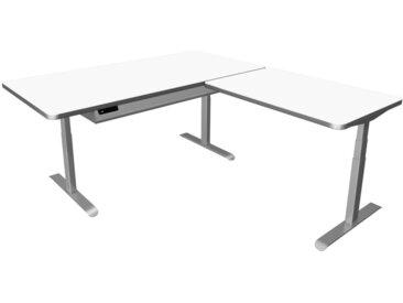 MOVE PREMIUM Steh-Sitz-Schreibtisch mit Ablageboard und Anbauelement, 200/120x100/80cm