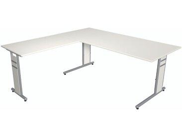 FORM 4 Schreibtisch mit Anbauelement, C-Fuß-Gestell, 180x180x68-82cm