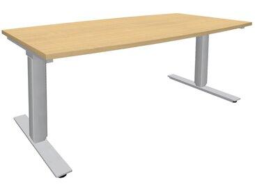 EXPERT Steh-Sitz-Tisch, Konferenztisch in Bootsform bzw. Fassform, 90/80cm tief