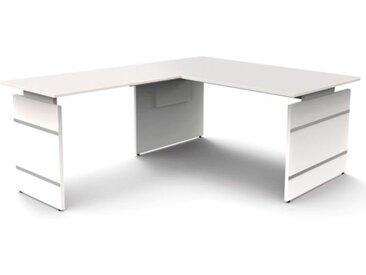 FORM 4 Schreibtisch mit Anbauelement, Wangengestell, 160x180x68-76cm
