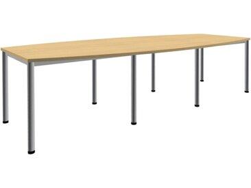 EXPERT Konferenztisch mit Rundrohrgestell, Bootsform, 80-140cm tief, 240-400 breit