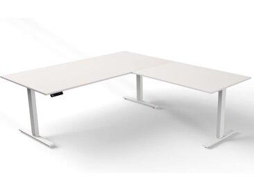 MOVE 3 Steh-Sitz-Schreibtisch mit Anbauelement, Gestellfarbe weiß, 200x220x72-120cm