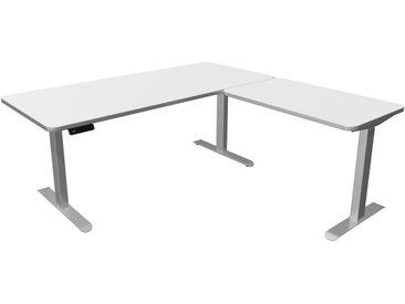 MOVE PREMIUM Steh-Sitz-Schreibtisch mit Anbauelement, C-Fuß-Gestell, 180x180x72-121cm