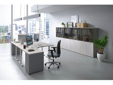 TREND PUR Büromöbel Set, Doppelarbeitsplatz, 500x500cm