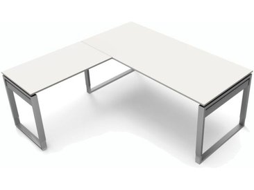 FORM 5 Schreibtisch mit Anbauelement, Kufengestell, 180x180x68-82cm