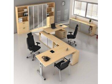 EXPRESS O-Serie Büromöbel Set, 2 Arbeitsplätze, 450x500cm