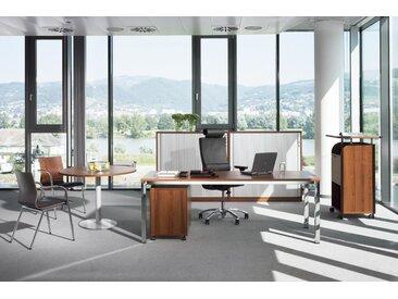 EXPERT Büromöbel Set, Einzelarbeitsplatz mit Besprechungsplatz, 350x250cm
