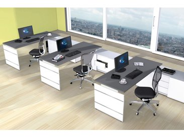 FORM 4 Büromöbel Set, 3 Arbeitsplätze 600x300