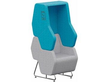 HEXA PHONE BOOTH 1-Sitzer Modul mit hoher Rückenlehne und Seitenwänden, frei stehend
