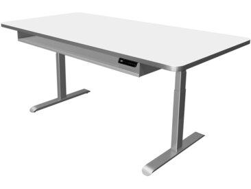 MOVE PREMIUM Steh-Sitz-Schreibtisch mit Ablageboard, b200xt100xh62-127cm