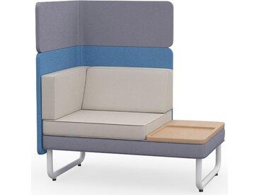 PLAY&WORK 1.5-Sitzer Sofa mit Ablagetisch, niedrige Rückwand mit Aufsatzpaneel