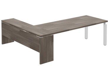 TREND PLUS Schreibtisch mit 4-Kant-Gestell und Anbau, 241x200cm