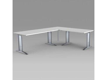 TEC-ART Schreibtisch mit Anbautisch, 160/120x80/80cm