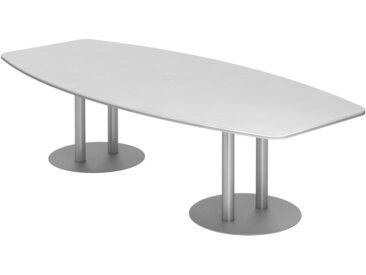 EXPRESS KT Konferenztisch in Fassform mit Tellerfüßen, silber b280xt130/85cm