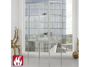 NICE Brandschutz-Hochbeinvitrine mit Schiebetüren, b100-120xt50xh195cm