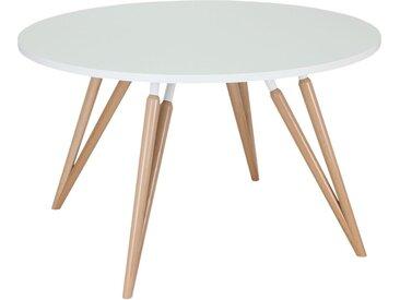 TAUKO Konferenztisch mit 4-Doppelfuß-Holzgestell, rund, Ø 120/180cm