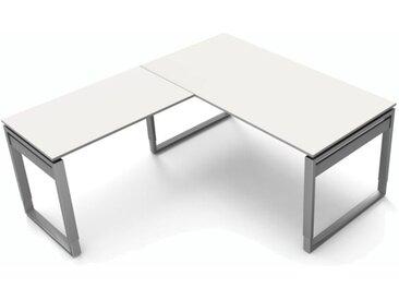 FORM 5 Schreibtisch mit Anbauelement, Kufengestell, 160x180x68-82cm