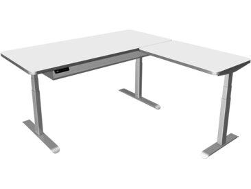 MOVE PREMIUM Steh-Sitz-Schreibtisch mit Ablageboard und Anbauelement, 180/100x80/60cm