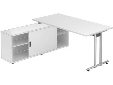 EXPRESS NSE Schreibtisch mit Sideboard, Gestellfarbe silber