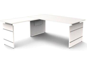 FORM 4 Schreibtisch mit Anbauelement, Wangengestell, 180x80xh68-82cm