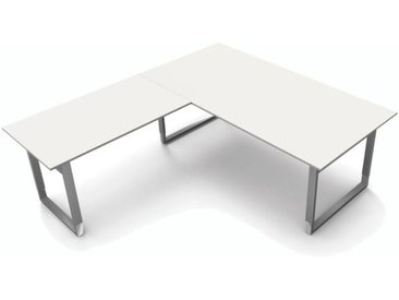 FORM 5 Schreibtisch mit Anbauelement, Kufengestell, 200x220x68-82cm