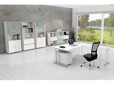 ARTLINE Büromöbel Set, 1 Arbeitsplatz mit Anbautisch, 500x400