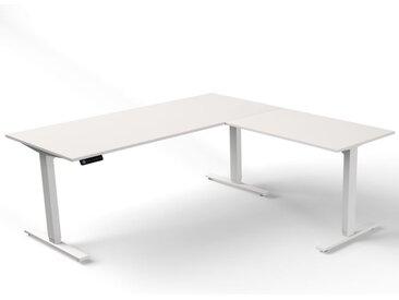 MOVE 3 Steh-Sitz-Schreibtisch mit Anbauelement, Gestellfarbe weiß, 180x180x72-120cm