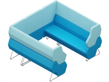 HEXA WALL 6-SITZER, Sitzmodule 2x HEXA-120 1x HEXA-22L und 1x HEXA-22R mit 1x HEXA-WALL